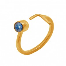 Round Shape Lapis Lazuli Gemstone 925 Sterling Silver Gold Plated Ring Jewelry