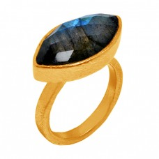 Marquise Shape Labradorite Gemstone 925 Sterling Silver Gold Plated Ring