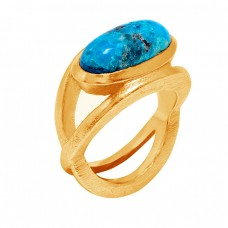 Cabochon Oval Shape Turquoise Gemstone 925 Sterling Silver Gold Plated Ring