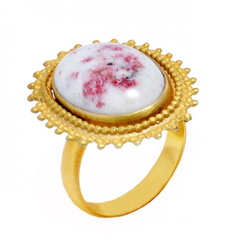 Oval Cabochon Cinnabar Gemstone 925 Sterling Silver Gold Plated Ring Jewelry