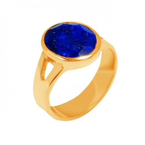 Blue Sapphire Oval Cut Gemstone 925 Sterling Silver Gold Plated Ring Jewelry