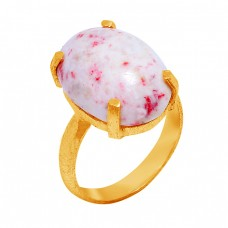 Cabochon Oval Shape Cinnabar Gemstone 925 Sterling Silver Gold Plated Ring