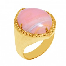 Cabochon Oval Shape Rhodochrosite Gemstone 925 Sterling Silver Gold Plated Ring