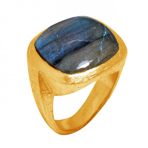 Cabochon Square Shape Labradorite Gemstone 925 Silver Gold Plated Ring Jewelry