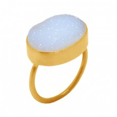 Oval Shape White Druzy Gemstone 925 Sterling Silver Gold Plated Ring Jewelry