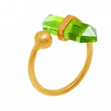 Pencil Shape Peridot Gemstone 925 Sterling Silver Gold Plated Handmade Ring