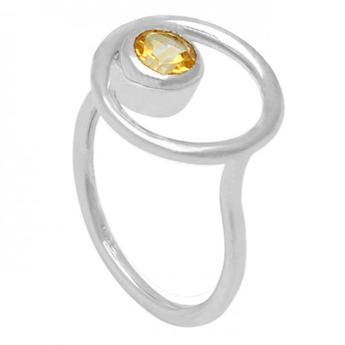Faceted Round Shape Citrine Gemstone 925 Sterling Silver Handcrafted Ring Jewelry
