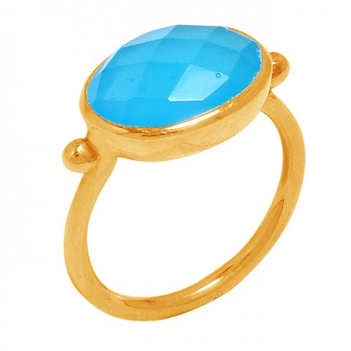 Oval Shape Blue Chalcedony 925 Sterling Silver Gold Plated Ring Jewelry