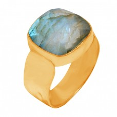 Faceted Square Shape Labradorite Gemstone 925 Sterling Silver Gold Plated Ring