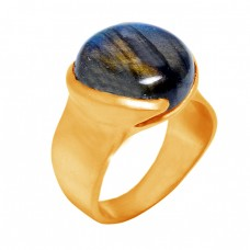 Round Cabochon Labradorite Gemstone 925 Sterling Silver Gold Plated Ring