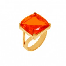 Faceted Square Shape Fanta Quartz Gemstone 925 Sterling Silver Gold Plated Ring