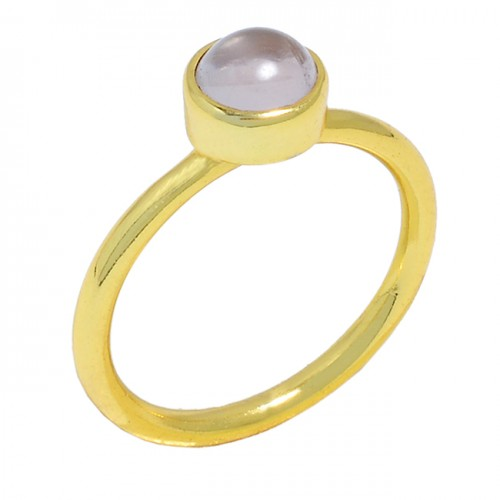 Round Shape Rose Quartz Gemstone 925 Sterling Silver Gold Plated Ring Jewelry