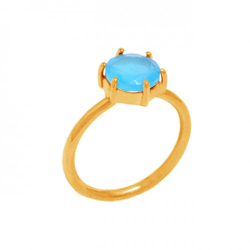 Prong Setting Round Shape Gemstone 925 Sterling Silver Gold Plated Ring Jewelry