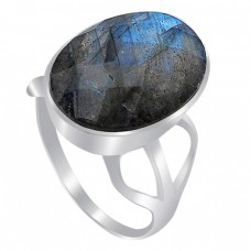 Oval Shape Labradorite Gemstone 925 Sterling Silver Handcrafted Ring Jewelry