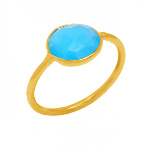 925 Sterling Silver Aqua Chalcedony Gemstone Gold Plated Designer Ring Jewelry