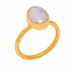 Oval Shape Rainbow Moonstone 925 Sterling Silver Gold Plated Designer Ring