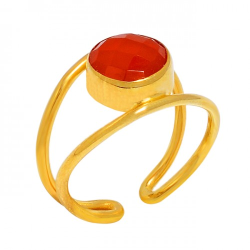 Round Shape Carnelian Gemstone 925 Sterling Silver Gold Plated Ring Jewelry