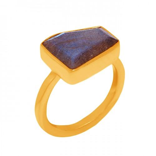 Fancy Shape Labradorite Gemstone 925 Sterling Silver Gold Plated Ring Jewelry