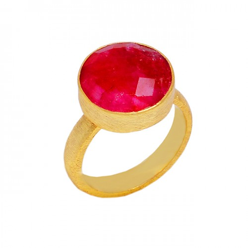 Round Shape Ruby Gemstone 925 Sterling Silver Gold Plated Designer Ring Jewelry