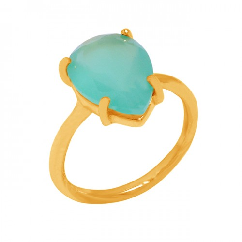 Prong Setting Handmade Designer Ring Aqua Chalcedony Gemstone 925 Sterling Silver Gold Plated Jewelry