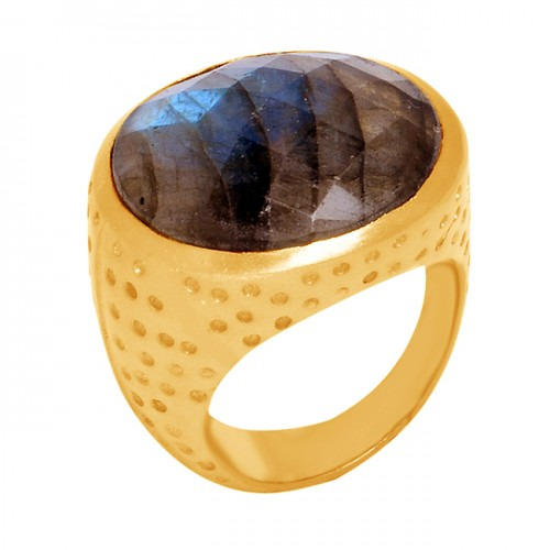 925 Sterling Silver Oval Shape Labradorite Gemstone Gold Plated Ring Jewelry