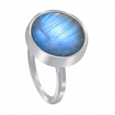 Labradorite Round Cabochon Gemstone 925 Sterling Silver Handmade Jewelry Rings