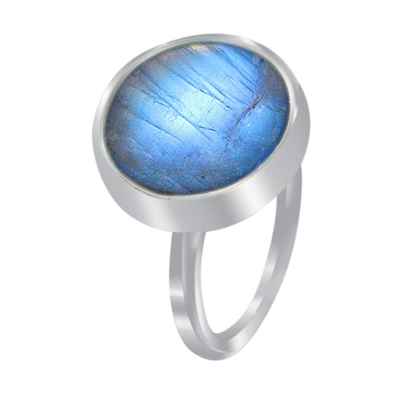 Labradorite Round Cabochon Gemstone 925 Sterling Silver Handmade Jewelry Rings