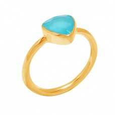Triangle Shape Aqua Chalcedony Gemstone 925 Sterling Silver Ring Jewelry