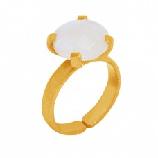 Rainbow Moonstone Round Shape 925 Sterling Silver Gold Plated Ring Jewelry