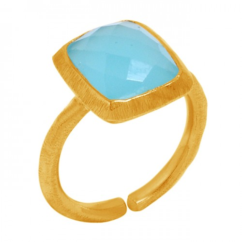 925 Sterling Silver Adjustable Ring Aqua Color Chalcedony Gold Plated Handmade Jewelry