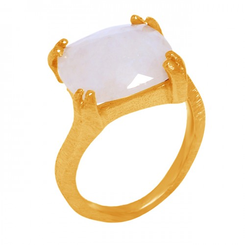 Square Shape Rainbow Moonstone 925 Sterling Silver Gold Plated Ring Jewelry