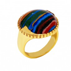 Round Shape Rainbow Calsilica Gemstone 925 Sterling Silver Gold Plated Ring Jewelry