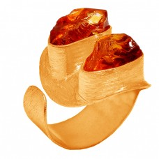 925 Sterling Silver Citrine Rough Gemstone Gold Plated Handmade Ring Jewelry