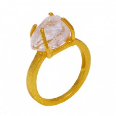 925 Sterling Silver Crystal Quartz Rough Gemstone Gold Plated Ring Jewelry