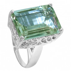 Octagon Shape Green Amethyst Gemstone 925 Sterling Silver Jewelry Rings
