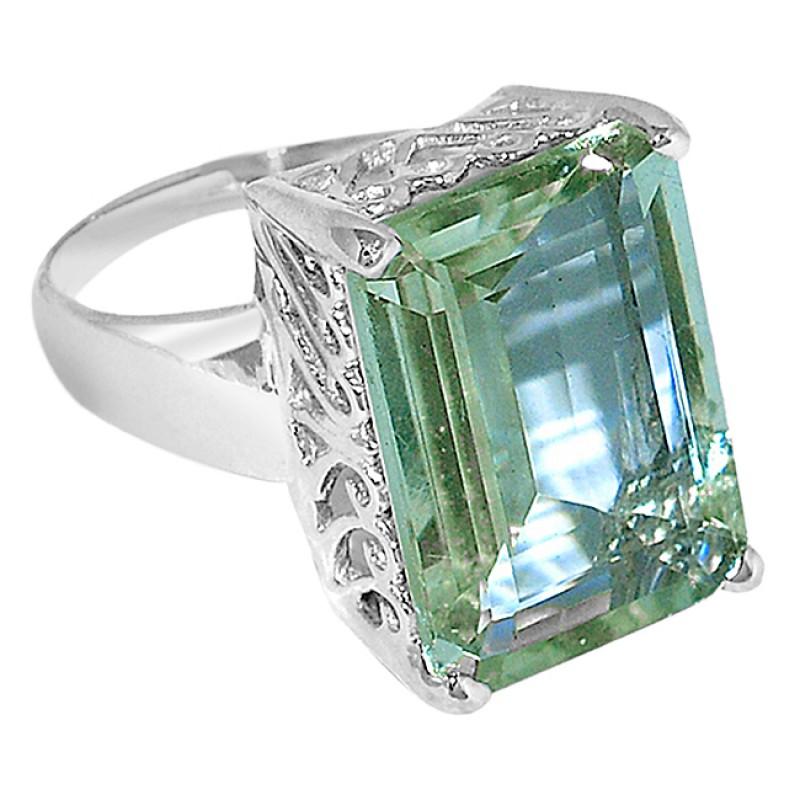 Octagon Shape Green Amethyst Gemstone 925 Sterling Silver Jewelry Rings