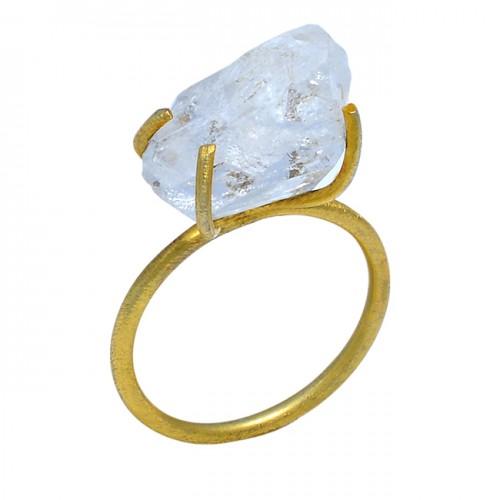 Crystal Quartz Rough Gemstone 925 Sterling Silver Gold Plated Designer Ring