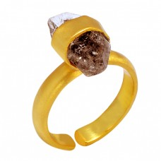 925 Sterling Silver Herkimer Diamond Gemstone Gold Plated Designer Ring