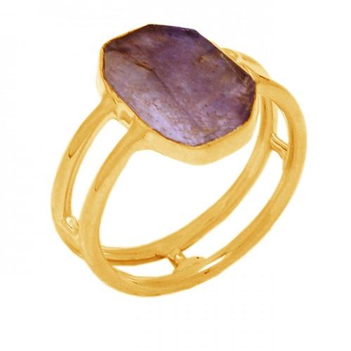 Fancy Shape Labradorite Gemstone 925 Sterling Silver Gold Plated Designer Ring