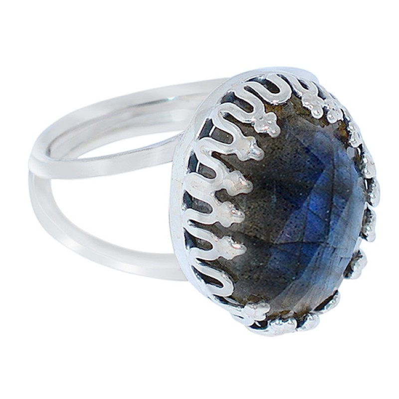 Blue Shine Labradorite Gemstone Briolette Cut 925 Sterling Silver Handcrafted Jewelry Rings