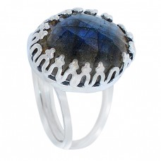 Blue Shine Labradorite Gemstone Briolette Cut 925 Sterling Silver Handcrafted Jewelry Rings