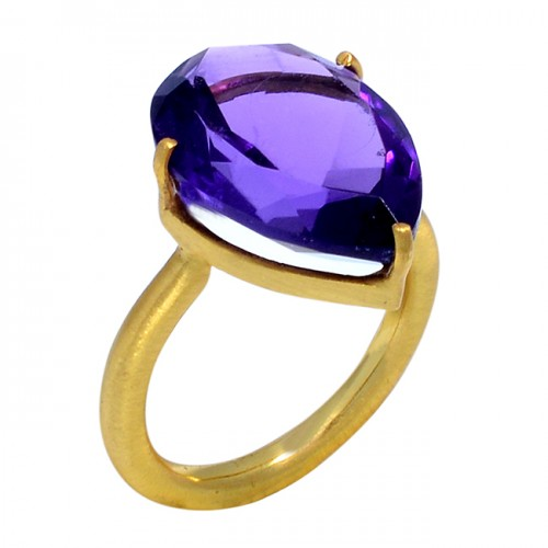 Pear Cut Amethyst Gemstone Prong Setting 925 Sterling Silver Gold Plated Handmade Ring Jewelry