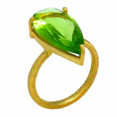 Pear Shape Peridot Gemstone 925 Sterling Silver Gold Plated Prong Setting Ring