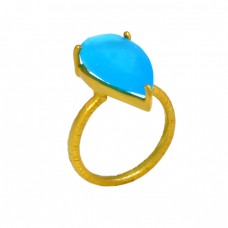 Gold Plated 925 Sterling Silver Turquoise Pear Cut Gemstone Handmade Ring Jewelry