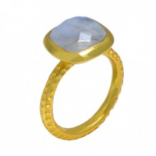 Square Shape Labradorite Gemstone 925 Sterling Silver Gold Plated Ring Jewelry