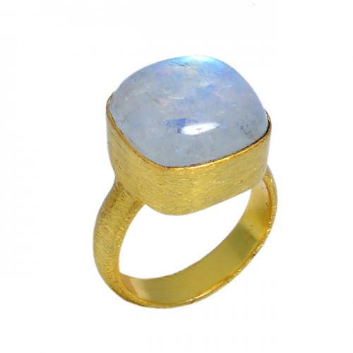 Square Shape Rainbow Moonstone 925 Sterling Silver Gold Plated Ring