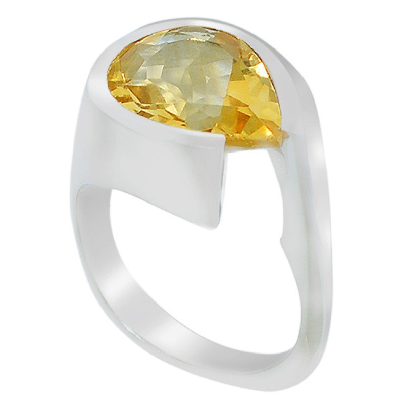 Natural Yellow Citrine Pear Cut Gemstone 925 Sterling Silver Ring Jewellery
