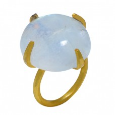 Round Cabochon Rainbow Moonstone 925 Sterling Silver Gold Plated Ring Jewelry