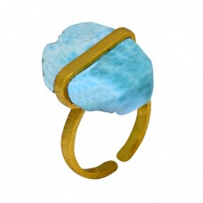 925 Sterling Silver Larimar Rough Gemstone Gold Plated Handmade Ring Jewelry