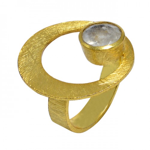 Faceted Round Shape Rainbow Moonstone 925 Sterling Silver Gold Plated Ring